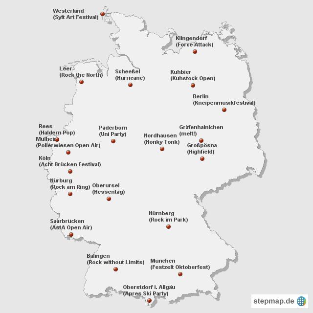 festival karte deutschland StepMap   Festivals   Landkarte für Deutschland