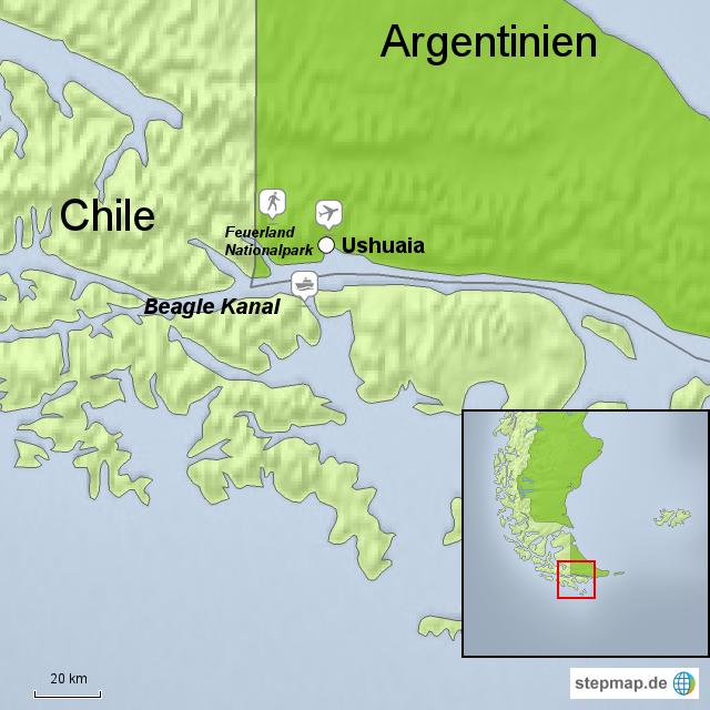 feuerland karte StepMap   Feuerland Nationalpark   Landkarte für Argentinien feuerland karte