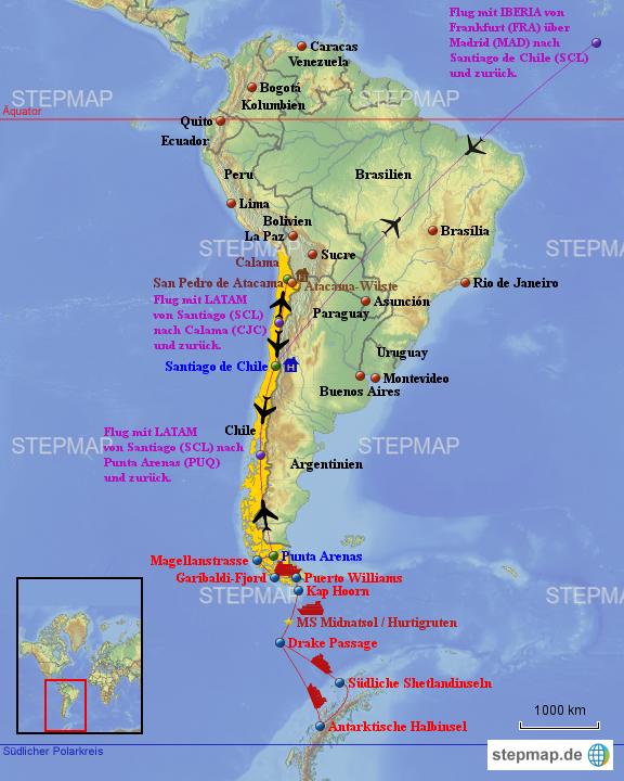 Atacama Wüste Karte.Stepmap Feuerland Und Pinguine Und Atacama Wüste Mit Der Ms
