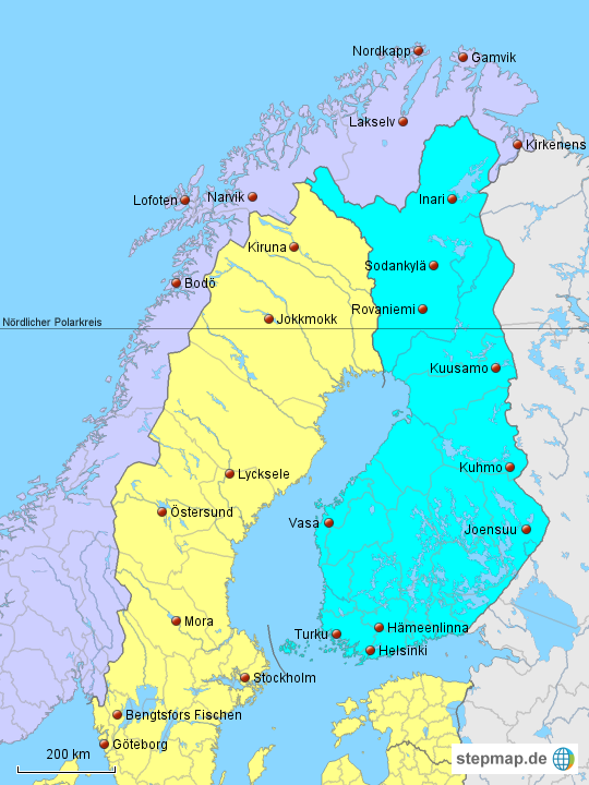 Karte Norwegen Schweden.Stepmap Finnland Schweden Norwegen Landkarte Für Deutschland
