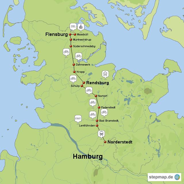Flensburg Karte.Stepmap Flensburg Radtour 09 Auf Dem Ochsenweg Landkarte Für