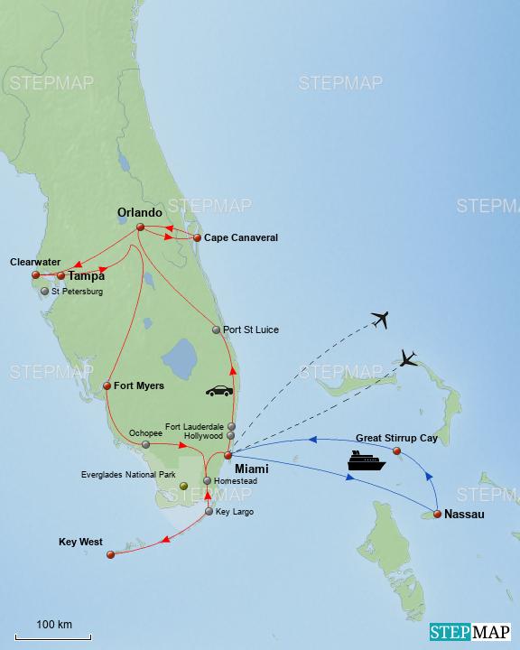 StepMap - Florida Rundreise & Bahamas Kreuzfahrt - Landkarte für USA