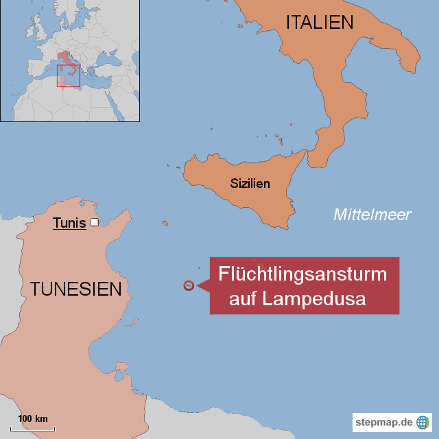 Italien Karte Lampedusa.Stepmap Fluchtlingsansturm Auf Lampedusa Landkarte Fur