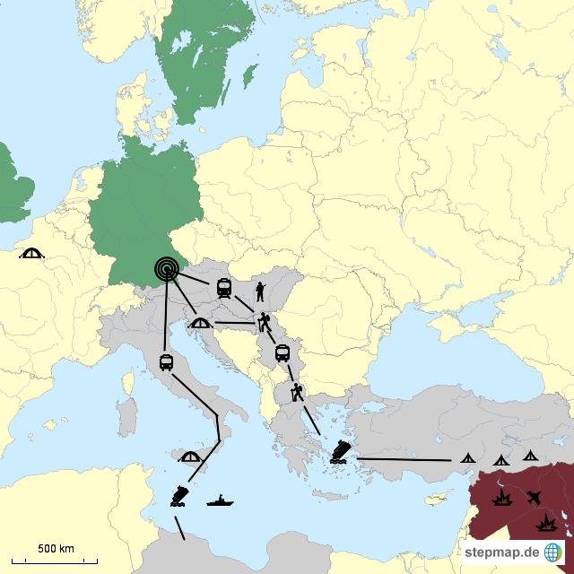 Berühmt StepMap - Flüchtlingsrouten nach Deutschland - Landkarte für #EP_82