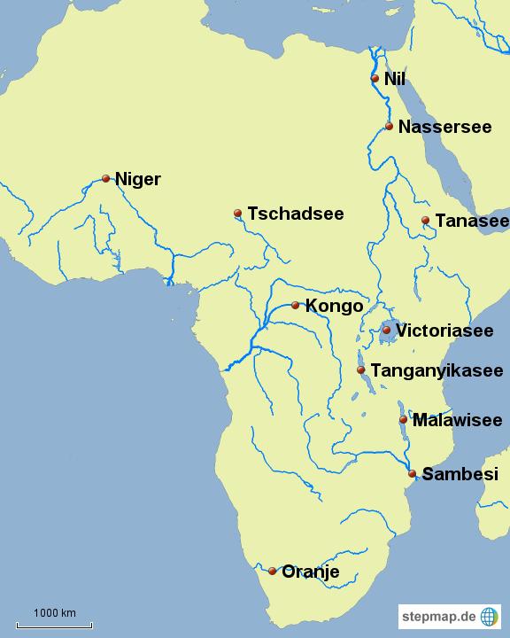 Afrika Karte Deutsch.Stepmap Flüsse Afrika Landkarte Für Deutschland
