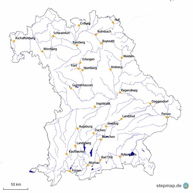 StepMap - Flüsse Bayern - Landkarte für Deutschland