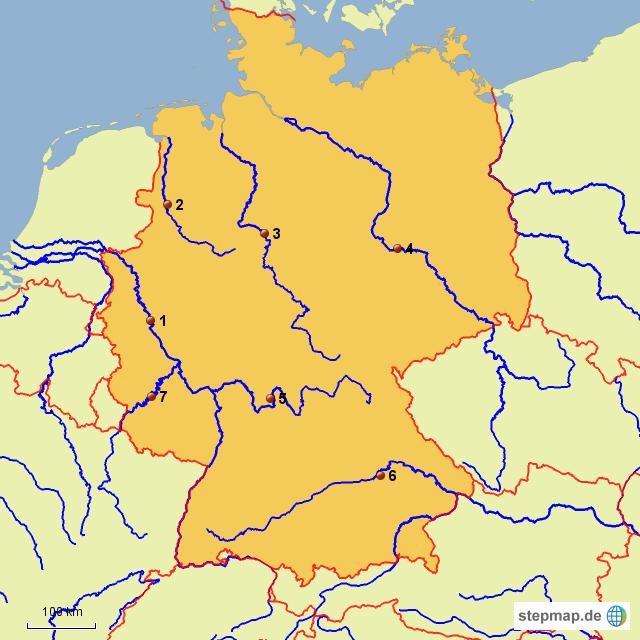 karte flüsse deutschland StepMap   Flüsse Deutschland   Landkarte für Deutschland karte flüsse deutschland
