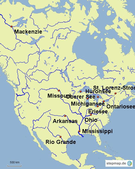 Stepmap Flusse Nordamerika Landkarte Fur Nordamerika