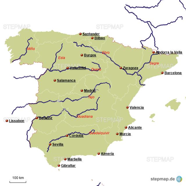 Spanische Karte.Stepmap Flusse Spanien Landkarte Fur Deutschland