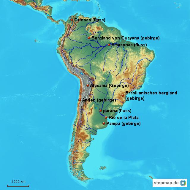 Stepmap Flusse Gebirge Landkarte Fur Sudamerika