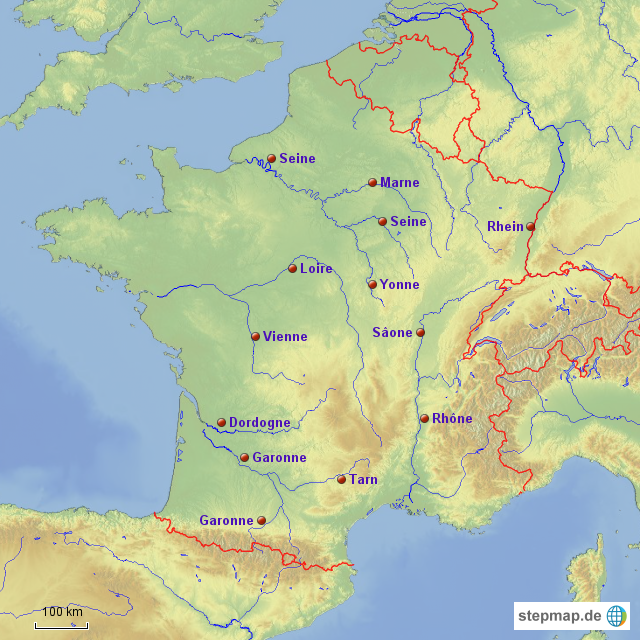 flüsse frankreich karte StepMap   Flüsse in Frankreich   Landkarte für Frankreich flüsse frankreich karte