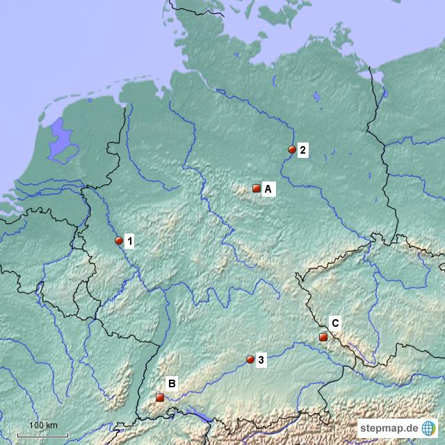 Mittelgebirge Deutschland Karte.Stepmap Flüsse Und Mittelgebirge Deutschland Landkarte Für