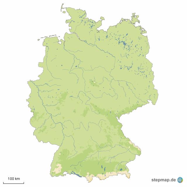 Seen In Norddeutschland Karte.Stepmap Flüsse Und Seen In Deutschland Landkarte Für Deutschland