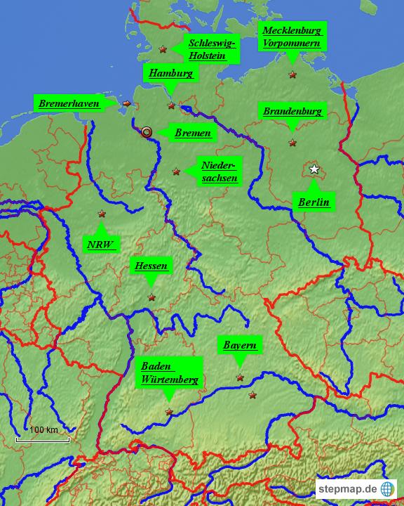 StepMap - Flüsse und Städte - Landkarte für Deutschland