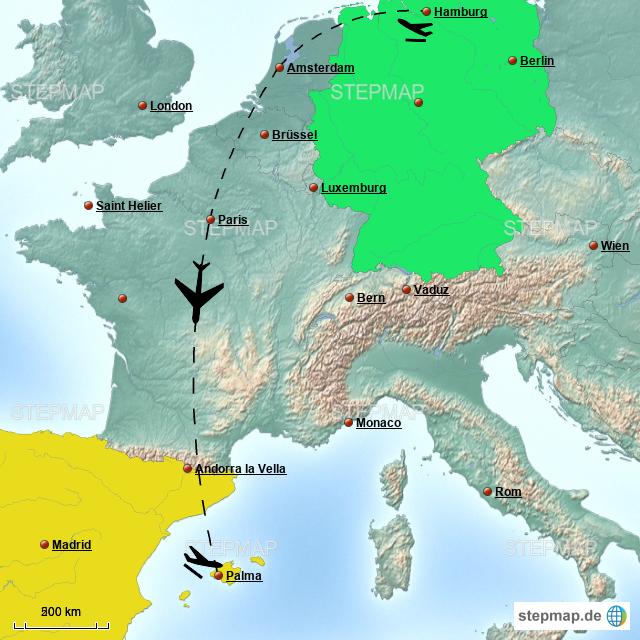 Stepmap Flug Hamburg Nach Mallorca Landkarte Für Deutschland