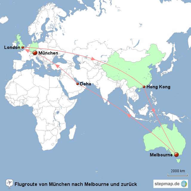 Stepmap Flug München Melbourne Landkarte Für Welt