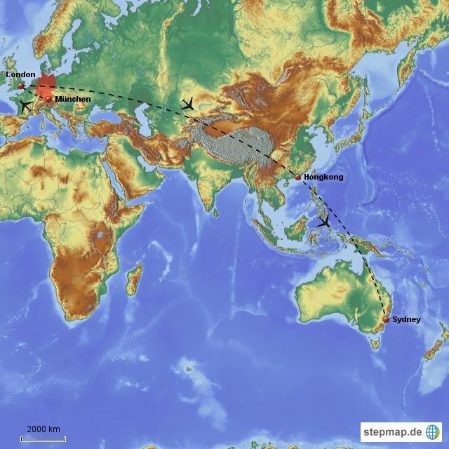 Stepmap Flug München Sydney Landkarte Für Deutschland