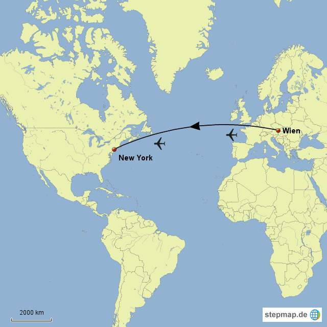 Stepmap Flug Wien Ny Landkarte Für Nordamerika