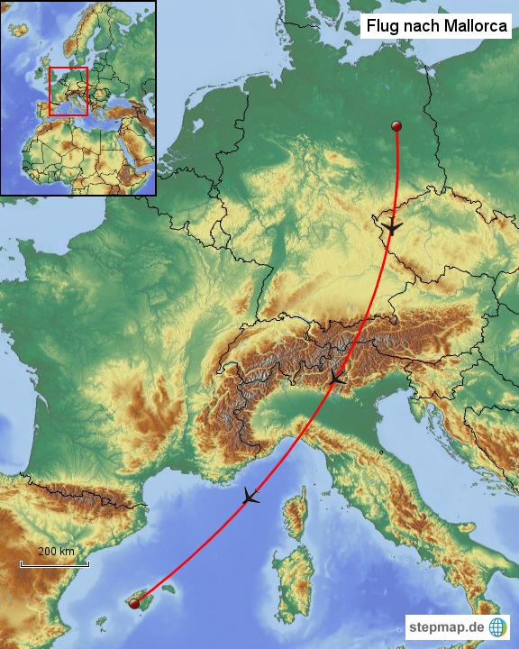 Stepmap Flug Nach Mallorca Landkarte Für Deutschland