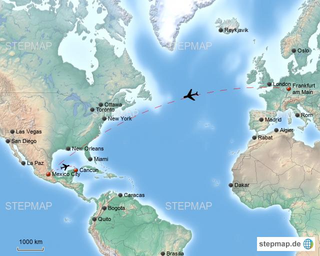 Mexiko Karte Welt.Stepmap Flug Nach Mexiko Landkarte Fur Welt