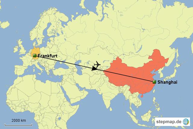 stepmap flug nach shanghai landkarte f r deutschland. Black Bedroom Furniture Sets. Home Design Ideas