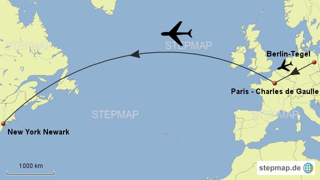 Stepmap Flug Von Berlin über Paris Nach New York Landkarte Für