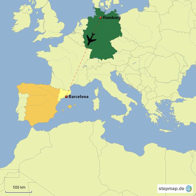stepmap flug von hamburg nach barcelona landkarte f r. Black Bedroom Furniture Sets. Home Design Ideas