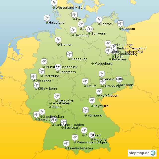 Flughäfen Deutschland Karte.Stepmap Flughäfen Deutschland Landkarte Für Deutschland