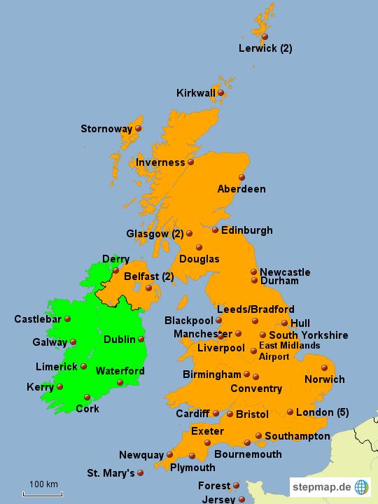 flughäfen irland karte StepMap   Flughäfen Großbritannien, Irland   Landkarte für Europa flughäfen irland karte
