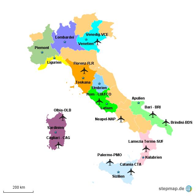 flughäfen italien karte StepMap   Flughäfen Italien   Landkarte für Deutschland flughäfen italien karte