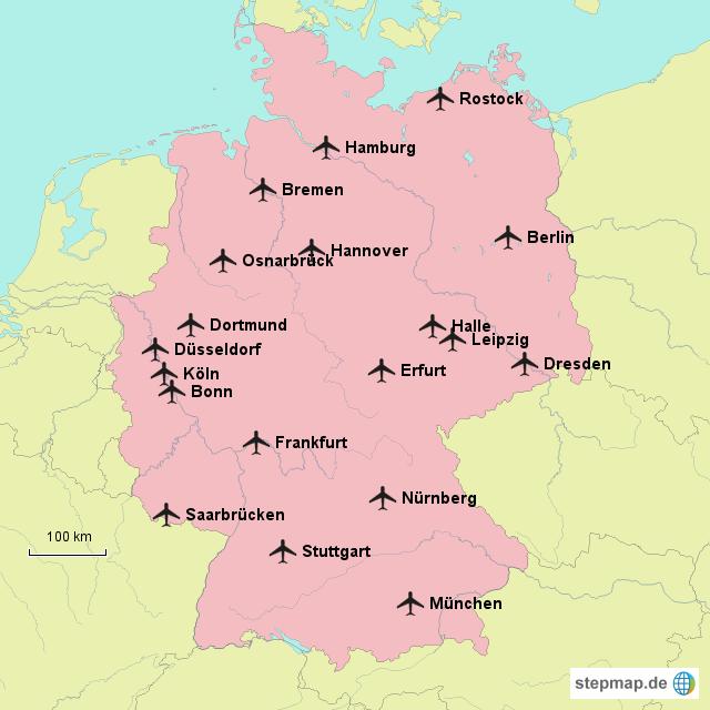 flughäfen in deutschland karte StepMap   Flughäfen in Deutschland   Landkarte für Deutschland flughäfen in deutschland karte