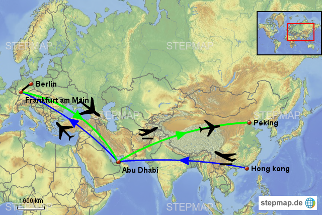 Flugrouten Karte.Stepmap Flugroute 1 Landkarte Fur Welt
