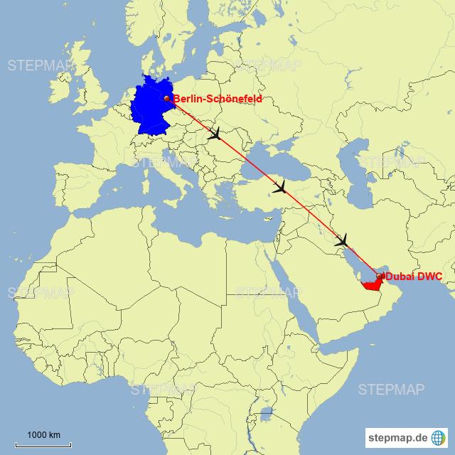 dubai karte StepMap   Flugroute Berlin Dubai   Landkarte für Deutschland
