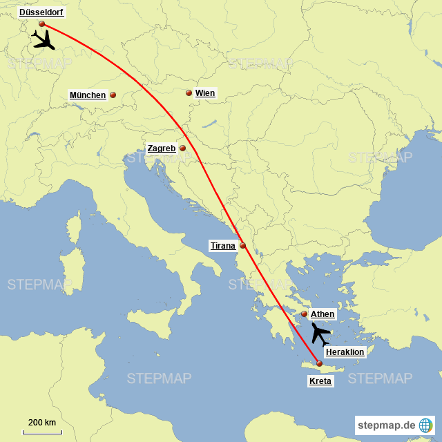 Flugrouten Karte.Stepmap Flugroute Dusseldorf Kreta Landkarte Fur Deutschland