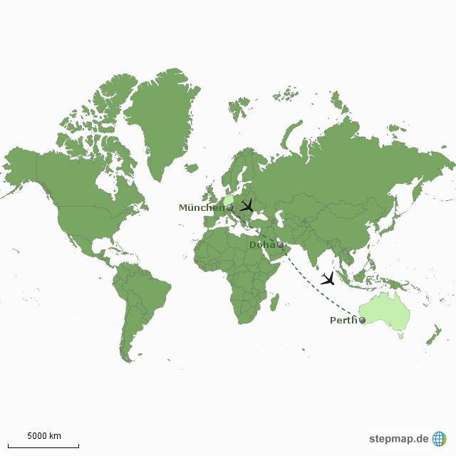 Doha Karte Welt.Stepmap Flugroute Muc Doha Perth Landkarte Fur Welt