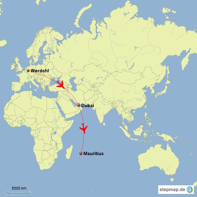 mauritius weltkarte StepMap   Flugroute Werdohl   Mauritius   Landkarte für Welt mauritius weltkarte