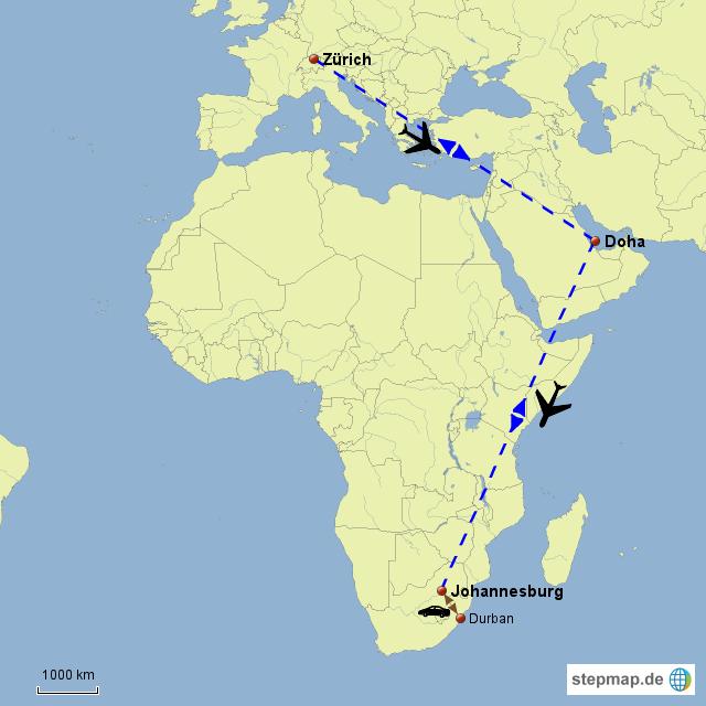 Doha Karte Welt.Stepmap Flugroute Zrh Jhb Landkarte Fur Welt