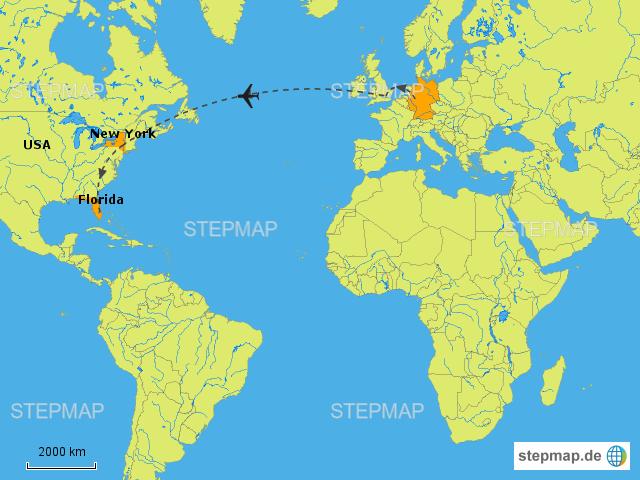 Flugrouten Karte.Stepmap Flugroute Nach Amerika Landkarte Fur Europa