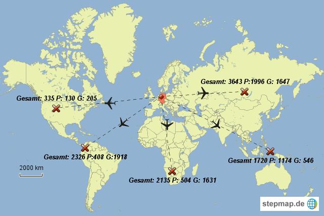 Flugrouten Karte.Stepmap Flugrouten Landkarte Fur Deutschland