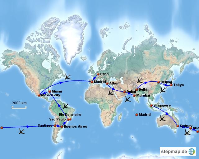 Flugrouten Karte.Stepmap Flugrouten Oneworld Programm Landkarte Fur Welt