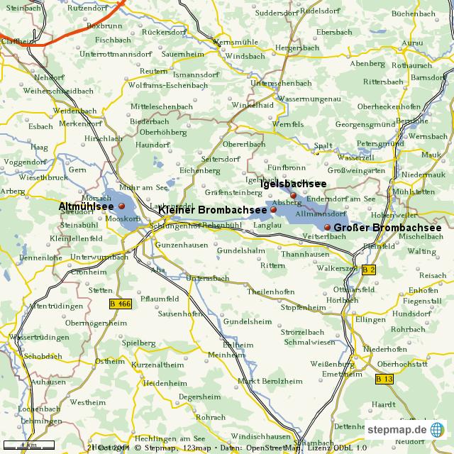 fränkisches seenland karte StepMap   Fränkisches Seenland   Landkarte für Welt