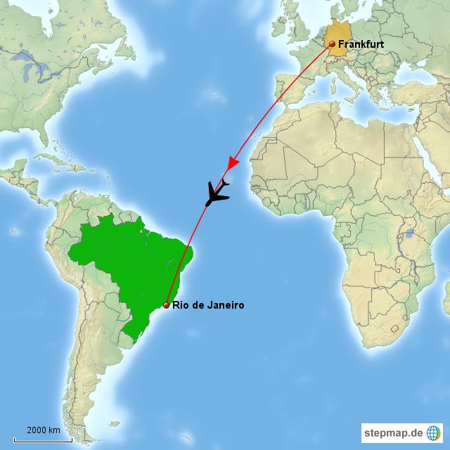 Rio De Janeiro Karte.Stepmap Frankfurt Rio De Janeiro Landkarte Fur Deutschland