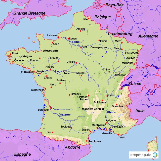 Frankreich Karte Stadte.Stepmap Frankreich Landkarte Fur Frankreich