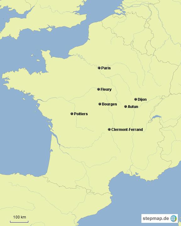 Frankreich Karte Stadte.Stepmap Frankreich 7 Stadte Landkarte Fur Deutschland