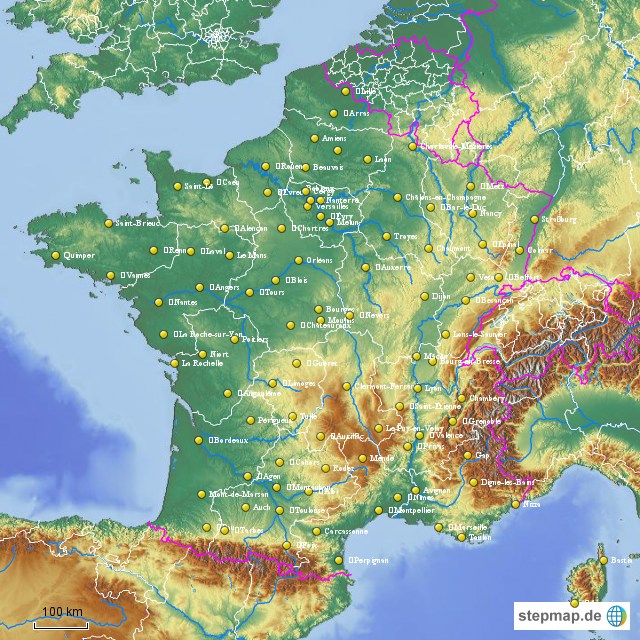 Frankreich Departements Karte.Stepmap Frankreich Départements Und Préfectures Landkarte Für
