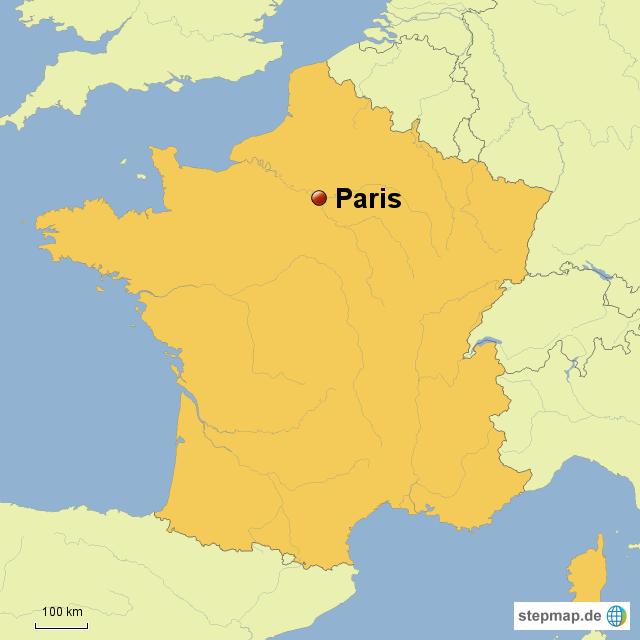 Stepmap Frankreich Karte Mit Paris Landkarte Fur Deutschland