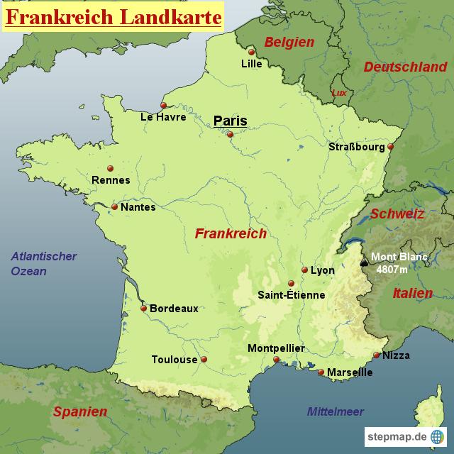 stepmap frankreich landkarte landkarte f r frankreich. Black Bedroom Furniture Sets. Home Design Ideas