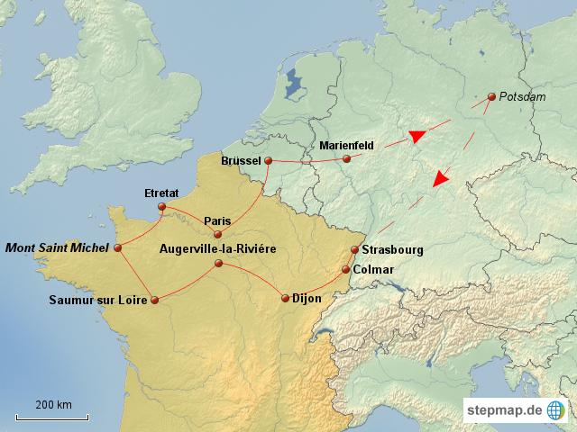frankreich nord rundreise von swotza landkarte f r deutschland. Black Bedroom Furniture Sets. Home Design Ideas