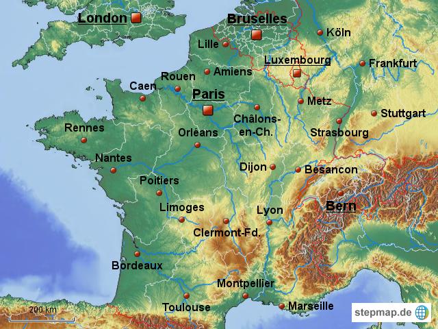 Regionen Frankreich Karte.Stepmap Frankreich Regionen Landkarte Für Deutschland