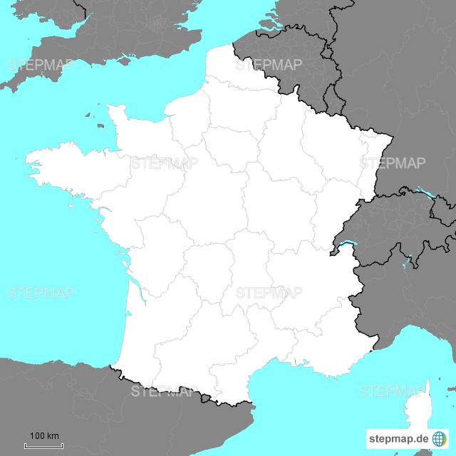 Frankreich Karte Regionen.Stepmap Frankreich Regionen Landkarte Für Frankreich